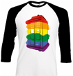 DOCTOR WHO RAINBOW TARDIS BASEBALL SHIRT